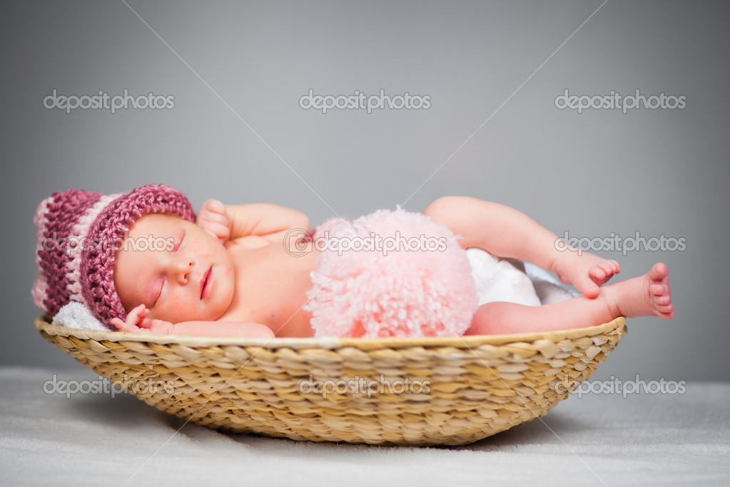 Portrait of a newborn caucasian girl  Stock Photo #6525957