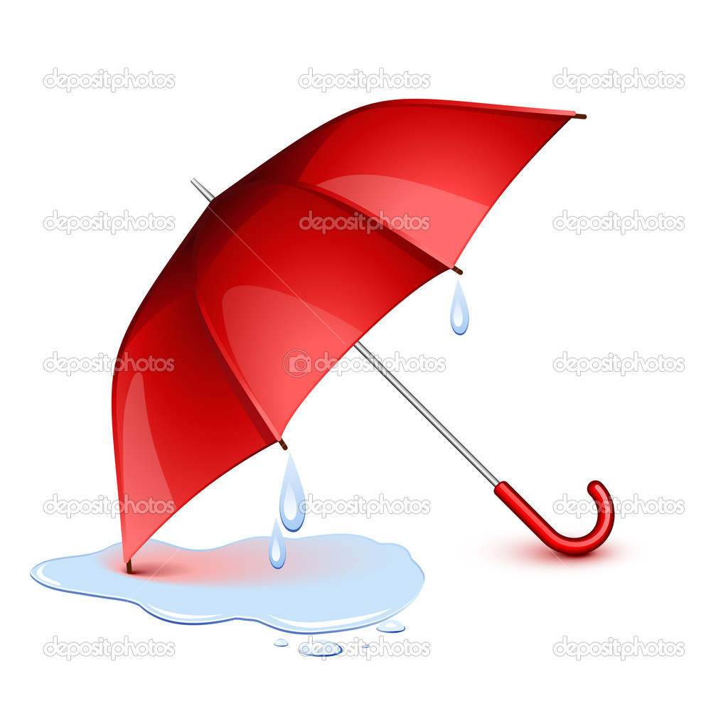 Wet red umbrella after the rain — Stock Vector #5433364