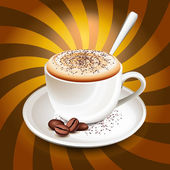 Cup of cappuccino over rays — Stock Vector