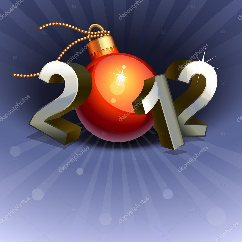 New year 2012 made of numbers and bauble — Stock Vector #5518547