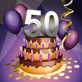 Fiftieth anniversary cake — Stock Vector