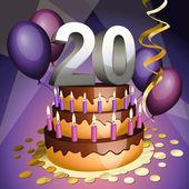 Twentieth anniversary cake — Stock Vector