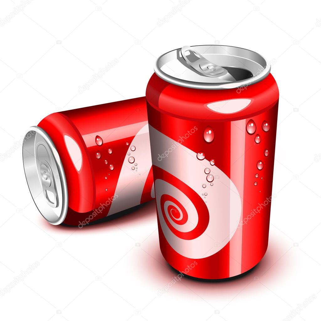Opened and closed red cola can — Stock Vector #6072808