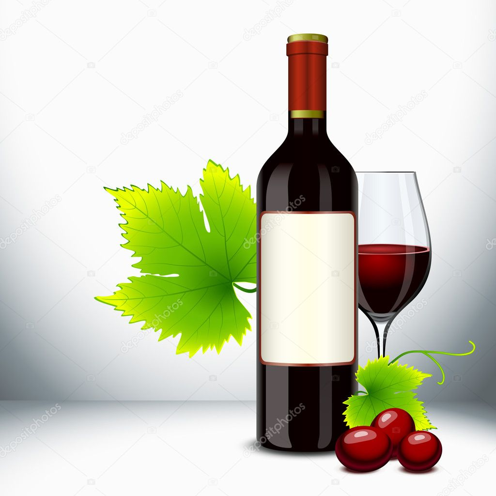 Red wine bottle and filled glass with vine — Stock Vector #6489350