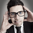 Foto Stock: Nerd businessman