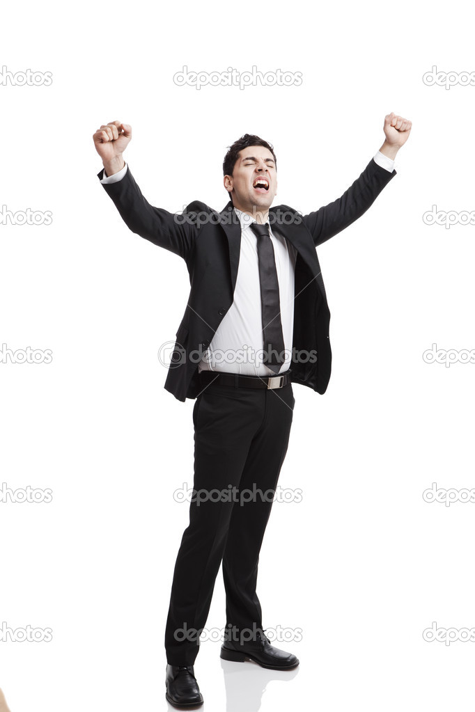 Young businessman with arms up isolated over a white background  — Stock Photo #5591268