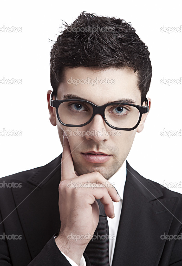 Portrait of a young and fashion businessman with nerd glasses — Stock Photo #5591284