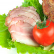 Meat smoked bacon with lettuce and tomato — Stock Photo