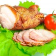 Meat smoked bacon with lettuce and tomato — Stock Photo #5951577