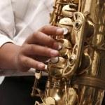 Jazz saxophone player — Stock Photo