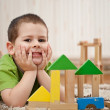 Foto Stock: Boy playing with blocks