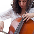 Girl playing cello — Stock Photo