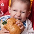 Stock Photo: Little boy eating hamburger