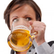 Woman drinking beer — Stock Photo