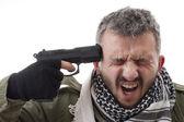 человек с ружьем на руке — Стоковое фото