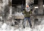 Terrorist with rifle — Stock Photo