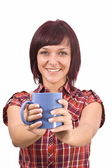 Woman with cup of tea — Stock Photo