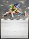 Boy drawing — Foto de Stock