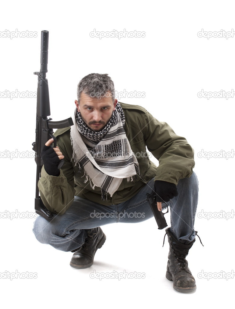 Terrorist with gun, isolated on white background — Stock Photo #5894209