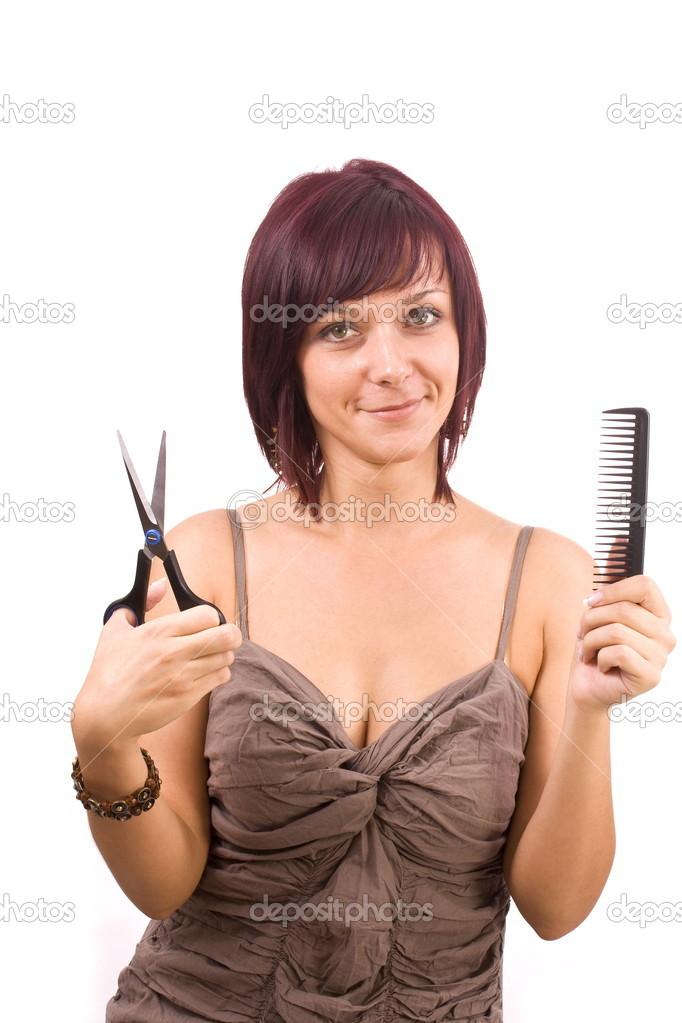 Female cutting and beautifying herself  isolated — Stock Photo #5894314