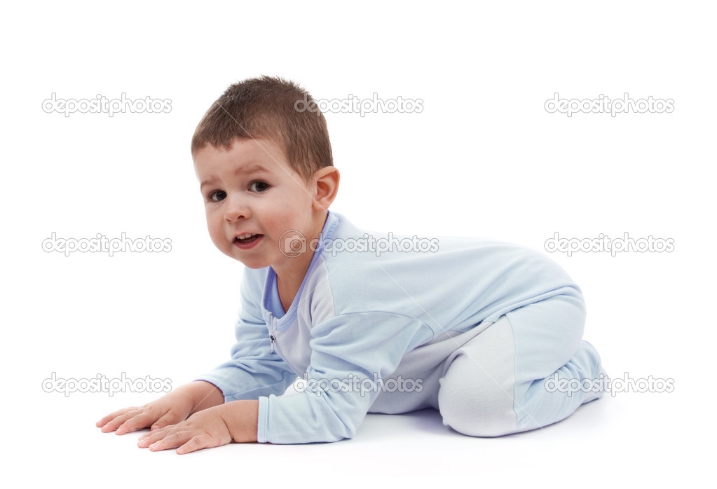 Toddle in pajamas all fours, isolated on white — Stock Photo #5894594