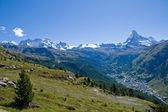 Zermatt with Matterhorn, Castor and Pollux — Stock Photo