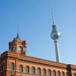 Stock Photo: Townhall and television tower