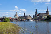 Dresden from the shore of river Elbe — Stock Photo