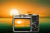 Beautiful sunset on skreen camera — Stock Photo