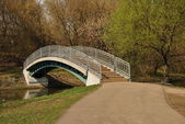 A small footbridge at the park Sviblovo — Stock Photo