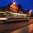 Night tram — Stock Photo