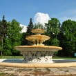The ancient fountain made of granite and iron in the central square of Mosc — Zdjęcie stockowe