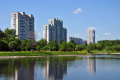 Residential homes on the shore of the pond — Stock Photo