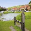 Stock Photo: Aldbury village green stocks and pond