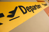 Departure arrival sign airport terminal — Stock Photo