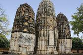 Khmer prangs rovine del tempio di sukhothai — Foto Stock