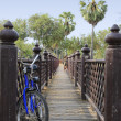 Stock Photo: Exploring sukhothai temples by bicycle