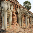 Stock Photo: Elephant head temple sukhothai thailand