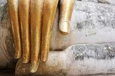Big buddhas golden fingers sukhothai — Stock Photo