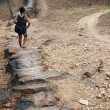 Walking stone bridge sukhothai ruins - Stock Photo