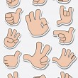 Collection of sticker gestures — Stock Vector