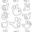 Collection of gestures outlined — Stock Vector