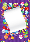 Candy and sweets card — Stock Vector
