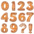 Stock Vector: Cookies numbers and symbols