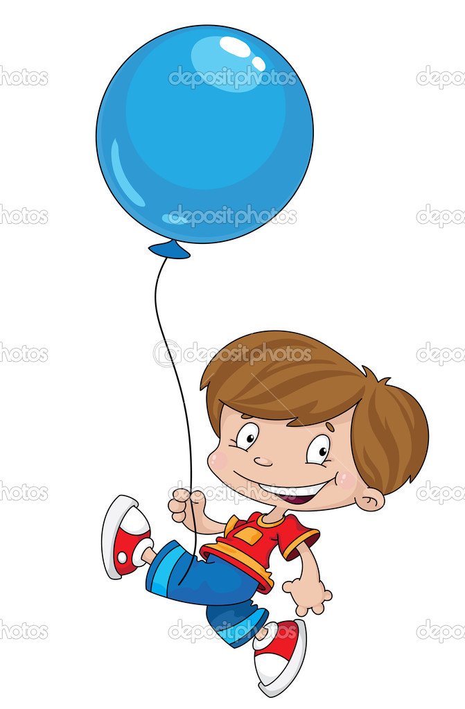 Illustration of a funny boy with balloon — Stock Vector #5986418