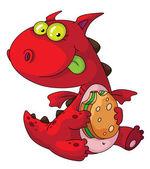 Dragón comiendo — Vector de stock