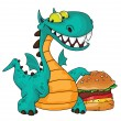 Great dragon and burger — Stock Vector