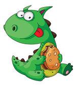 Dinosaur eating — Stock Vector