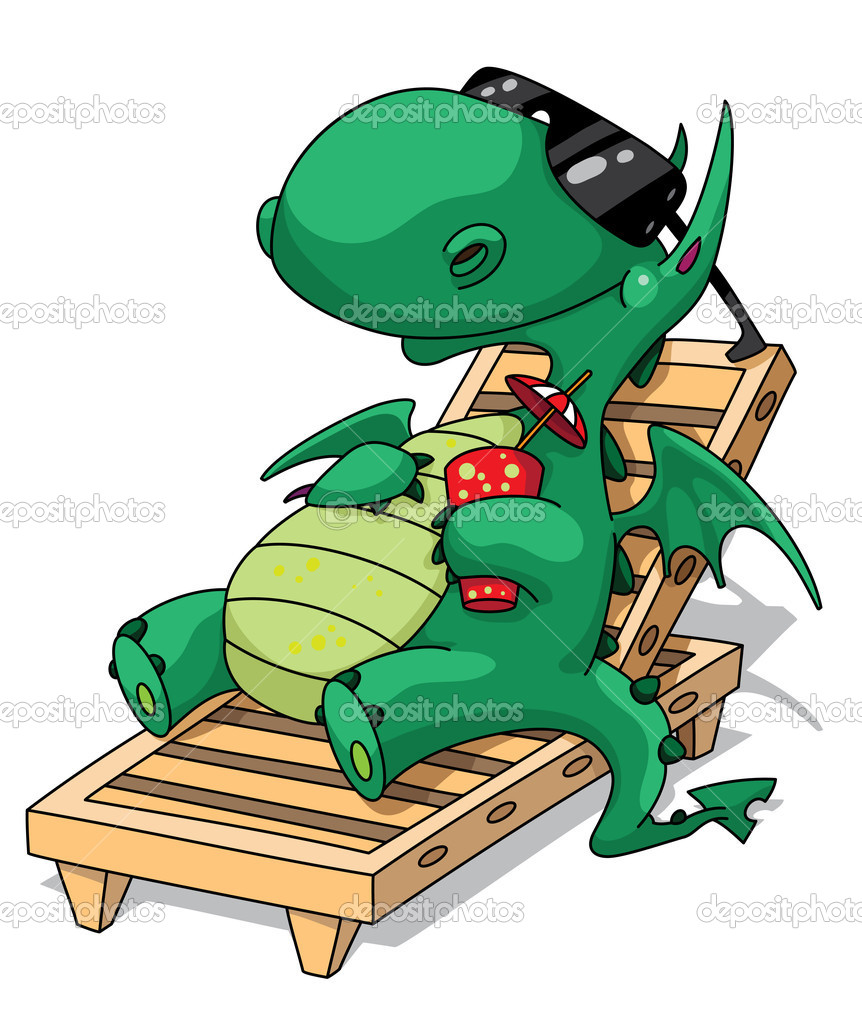 Illustration of a funny relaxation dragon — Stock Vector #6202979