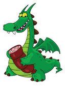 Dragon with sausage — Stock Vector